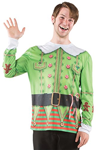 UHC Men's Ugly Elf Christmas Sweater Holiday Party Adult Halloween Costume, XL (Elf Mascot Jumpsuit Adult Unisex Costume)