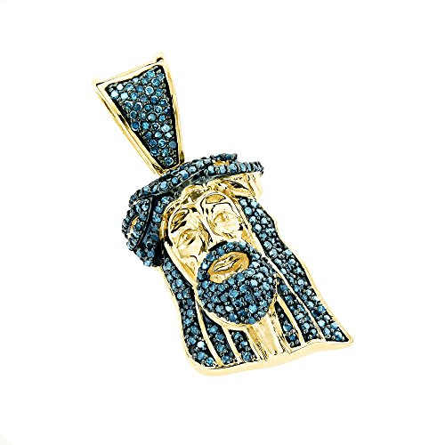 Unisex Mini Natural 0.5 Ctw Diamond Jesus Head Pendant Solid 10K Blue Diamonds (Yellow Gold)