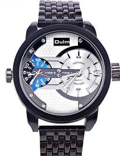 WATCH OULM ver doble movimiento sargento de acero hombres multifunción de cuarzo relojes hombres daniel wellington , white: Amazon.es: Relojes