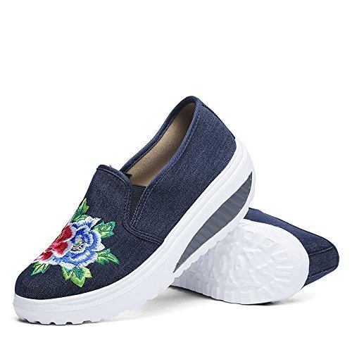 Femmes Enllerviid Broderie Toile Plate-forme Chaussures De Marche Glisser Sur La Forme Jusquà Tonification Des Chaussures De Sport Bleu Foncé