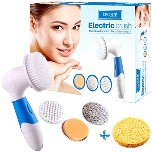 Massage Table Gold Package (Epique Beauty Face Cleansing Brush System for Facial Scrubber - Waterproof Anti-aging Spa Kit Skin Cleanser - Deep Pore Exfoliating and Cleansing Body - Callus Remover Tool, Suitable Women and)