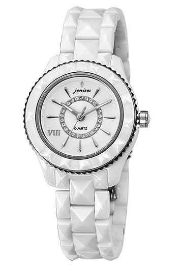Reloj de cuarzo de la mujer/Forma femenina cerámica diamante/Relojes vintage espejo zafiro-A: Amazon.es: Relojes