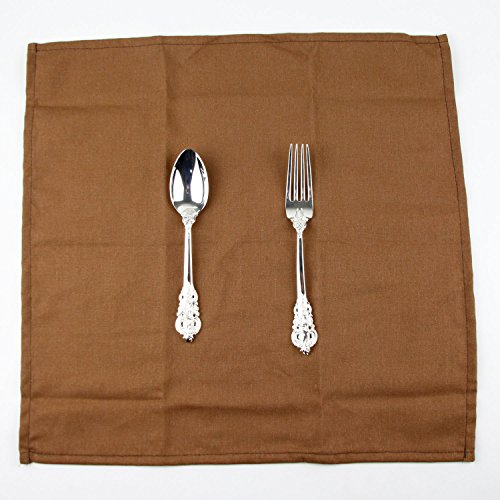 INFEI Soft Solid Color Linen Cotton Dinner Cloth Napkins - Pack of 12 (40 x 40 cm) - For Events & Home Use (Coffee) by INFEI (Image #4)