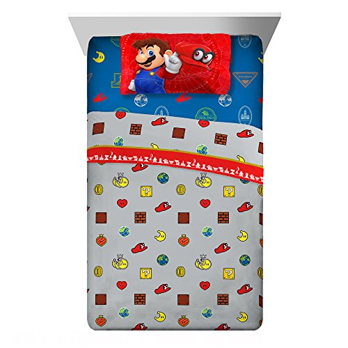 Price comparison product image Nintendo Super Mario Caps Off Twin Sheet Set, 3 Pc