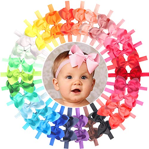 Baby Girls Headbands 30 Colors 4.5 Hair Bows Soft Elastic Hair Bands Headbands for Newborn Infant and Toddlers