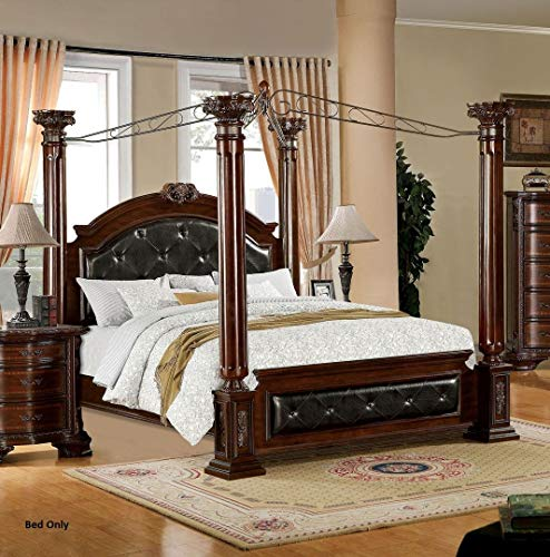 (Mandalay California King Canopy Bed with Tufted Headboard)