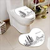 Printsonne 2 Piece Toilet Cover set illustration sketch landmarks malaysia the main building and the twin towers Non-slip Soft Absorbent Heart shaped foot pad
