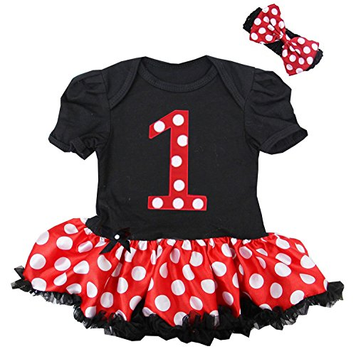 Kirei Sui Baby Nummber 1 Red Polka Dots Bodysuit X-Large Black (Minnie Mouse 1st Birthday Dress)