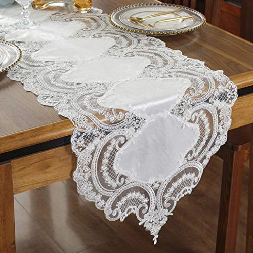 ROGEWIN Table Runner Gorgeous Luxury Lace Tablecloth TV Cabinet Cover Cloth Embroidered Coffee Tables Flag Wedding Decoration]()