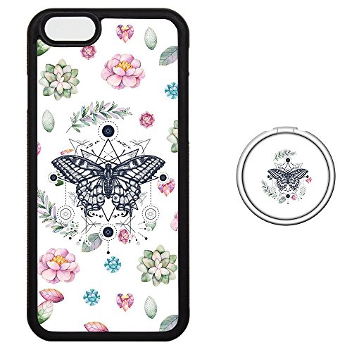 Set Butterfly Socket (Finger Ring Set iPhone 6 6S Plus Case with Phone Stand - Shock Proof Tire Protective Cover Color Matched Phone Shell - Pink & Green Succulents Butterfly)