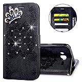 IKASEFU Galaxy J3 J310,Galaxy J3 2016 J320F Case,Clear Crown Rhinestone Bling Glitter Wallet with Card Holder Emboss Mandala Pu Leather Magnetic Flip Protective Cover for Samsung J3/J3 2016,Black