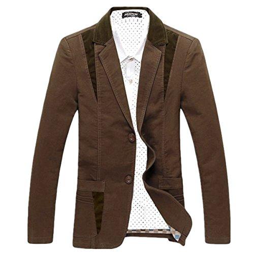 Pishon Men's Casual Blazer Cotton Lightweight Notched Lapel Two Button Blazer Jacket, Coffee, Tag Size XXXXXXL=US Size XL