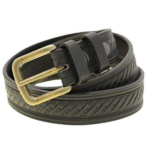 Mens 1 3/8 Black Bridle Leather Belt Domed Embossed Antique Brass Buckle Size 46 (Belt Black Brass Buckle)
