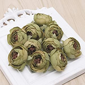 Wivily 10pcs 4.5CM Camellia Flower Bud Wedding Garden Decoration for Bridal Bouquet Wreath Headwear Clip DIY (Army Green) 85