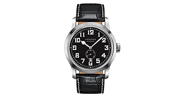 Amazon.com: Longines Heritage Miltary Automatic Black Leather Mens Watch L28114530: Watches
