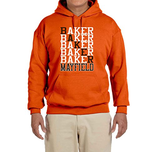 - Tobin Clothing Orange Cleveland Mayfield Text Hooded Sweatshirt Youth Medium