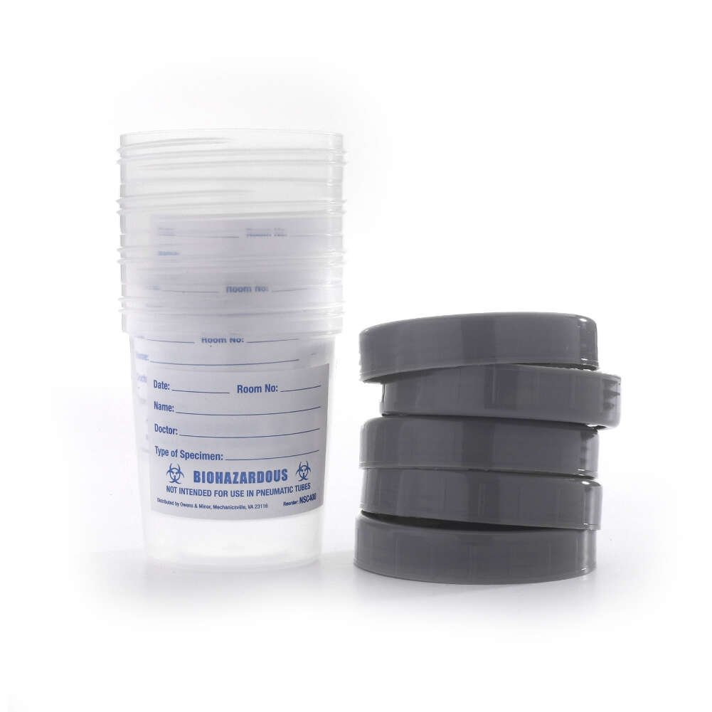 MediChoice Specimen Container, Urinalysis, With Gray Plastic Screw-On Lid, Single Patient Use, Polypropylene, Clear (Pack of 25) by MediChoice (Image #2)