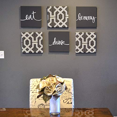 Charcoal Gray Eat Drink Be Merry Wall Decor Canvas Set (Eat Drink Be Merry Wall Canvas)