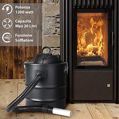 vetrineinrete® Aspirador Eléctrico 1200 W con depósito Capacidad 20 L Aspiradora con tubo largo 80 cm sopladora aspira cenizas Estufa Chimenea 4900 A107: Amazon.es: Hogar