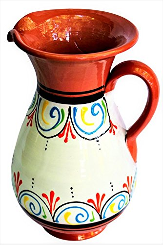 Terracotta White, 2 Quart Pitcher - Hand Painted From Spain 2 Hand Painted Plates