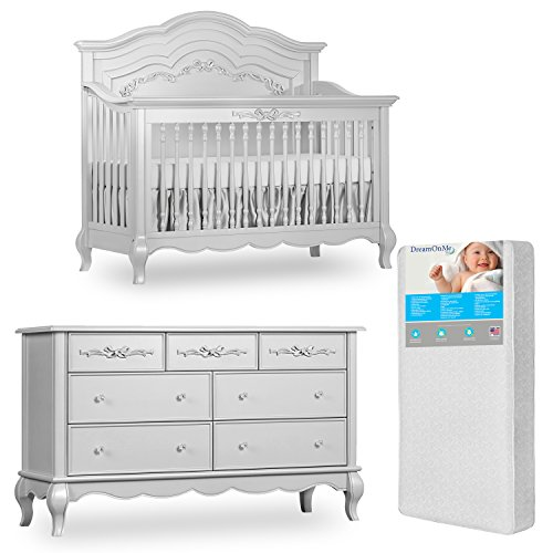 Evolur Aurora 5-in-1 Convertible Crib and Double Dresser with Free 260 Coil Crib/Toddler Mattress