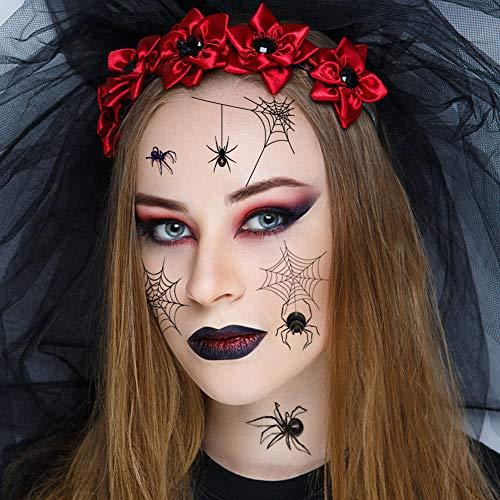Koogel Halloween Spinnen Tattoos, 12 Blatt 120 Stk. Spinnennetz Aufkleber Schaurige Klebetattoos Geschenk für Halloween Karneval Party