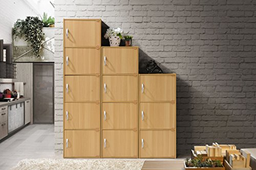 Hodedah 3 Door, Three Shleves, Enclosed Storage Cabinet, Beech by HODEDAH IMPORT (Image #5)