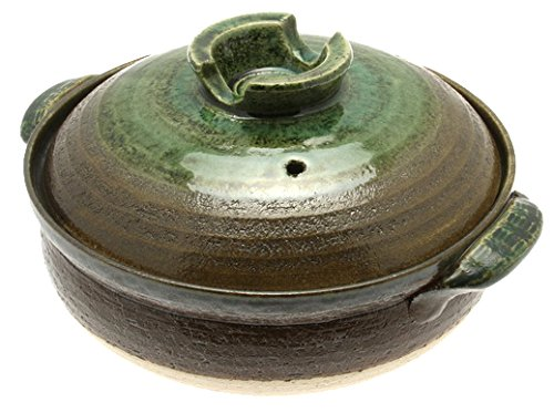 Kotobuki Donabe Japanese Hot Pot, Medium, Brown/Green