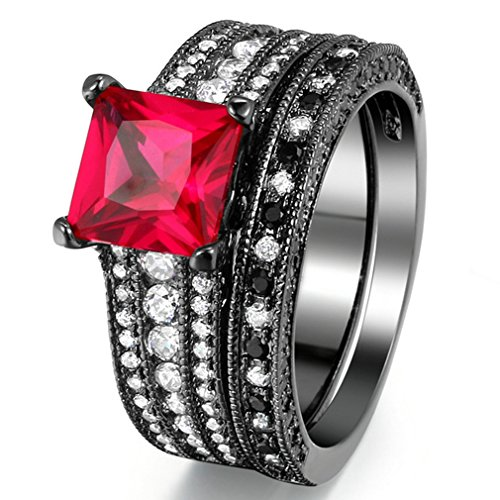 FENDINA Women 18K Black Gold Plated Created Ruby Princess Cut Solitaire Rings Wedding Engagement Anniversary Bridal Ring Set Birthstone Black - & Tiffany Co Black Friday