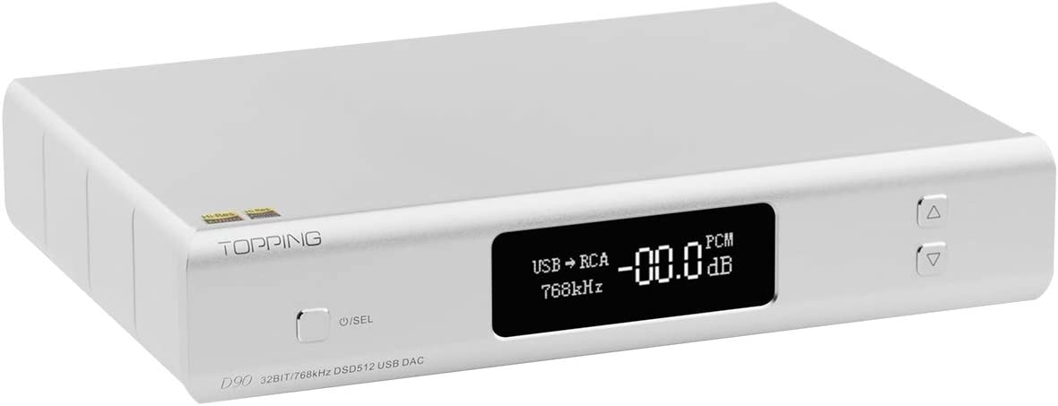 TOPPING D90 DAC AK4499 DSD512 Hi-Res Bluetooth 5.0 USB DAC LDAC HiFi Full Balanced Decoder (Silver)