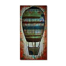 Trademark Fine Art Hot Air Ballon Plaid Artwork by Nicole Dietz, 12 by 24-Inch