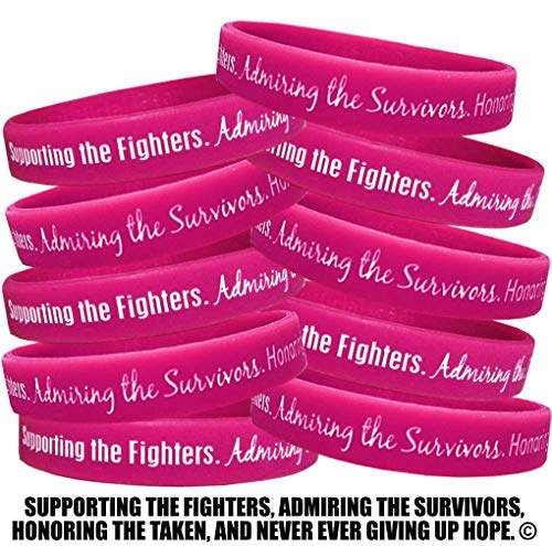 Fight Like a Girl Supporting, Admiring, Honoring Wristband Bracelet for Breast Cancer - Hot Pink (10 Pack)