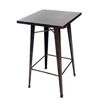 Merax Rectangular Distressed Metal Bar Table, Pub Table 39 Inch High  (Golden Black