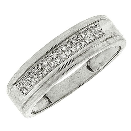 0.12 Carat (ctw) Sterling Silver White Diamond Men's Hip Hop Micro Pave Wedding Band Ring by DazzlingRock Collection