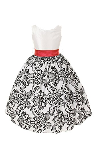 White with Black Velvet Special Occasion Dress w/ Removable Red Sash Girl 8 -