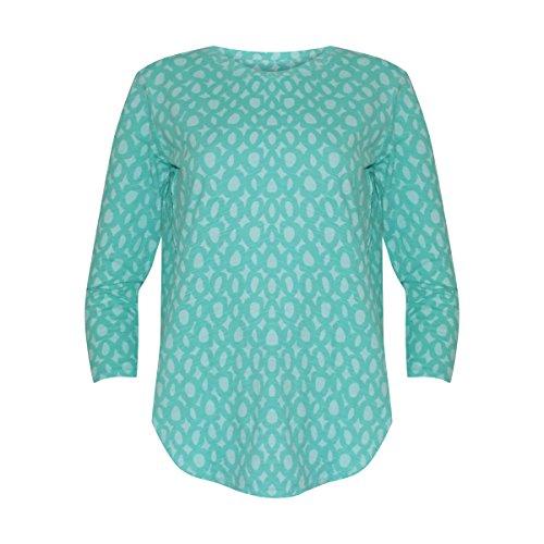 Fresh Produce Womens Jackie O Catalina 3/4 Length Sleeve T-Shirt Cotton Clothing Top (Palm, X-Small)