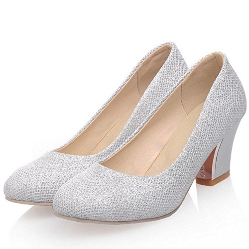 Hochzeit Abend Mid On Damenmode Heels COOLCEPT Zehe Pumps Slip Schuhe Party Runde Silber qSvIw48xX