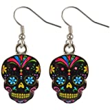 Day Of The Dead Sugar Skull Earrings - Assorted Colors