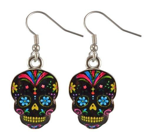 Skull Earrings (Day Of The Dead Sugar Skull Earrings - Assorted Colors (Black Skulls))