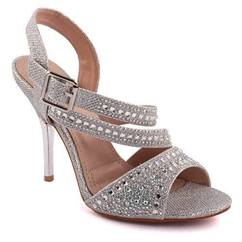 Unze Mujeres 'Samie' Diamante Embellecido Strappy Alta tacón de aguja Evening Party Carnival Junte Brunch Wedding Talones Sandalias Court Shoes Tamaño 3-8 Plateado