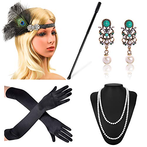 Beelittle 1920s Accessories Headband Earrings Necklace Gloves Expandable Cigarette Holder (J)