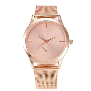 2017 nueva moda mujeres relojes vestido de las mujeres reloj de cuarzo de lujo de oro rosa acero inoxidable relojes: Amazon.es: Electrónica