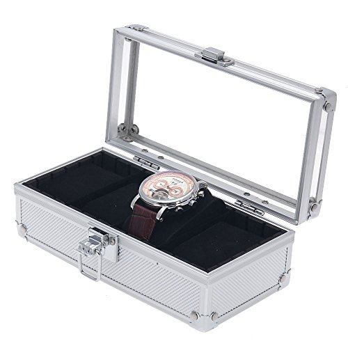 Generic NV_1008002954_YC-US2 c Top Gr Watch Storage Box st Wa Aluminum Alloy torag Show Display Show 4 Grids Wrist lay C Case Acrylic Top Aluminu by Generic
