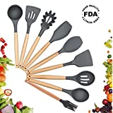 Silicone Cooking Utensils Set, Kitchen Utensil Set of 9 Packs Wooden Cooking Utensils, Rubber Spatula Spoon Set Tools for Cooking, Hand Wash, Grey
