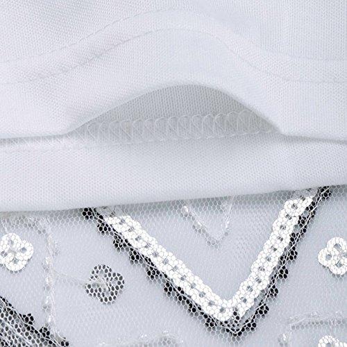 Flapper 38 Anni Charleston 1920s 4 Vestito Vestiti Classico Donna Paillettes Maniche Bianco 20 Feoya Colori 32 Gatsby Senza Dress Sera Da Abito Per q56xZH7