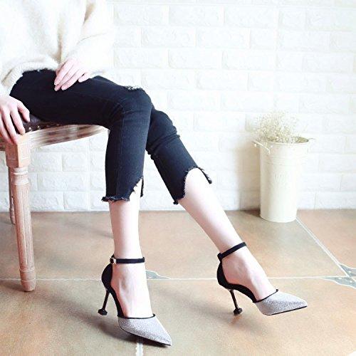Xue Qiqi Pumps Sandalen Schuhe Fein Schuhe mit High-Heel Schuhe Fein Flache Damenschuhe für die Hohlen Tipp Licht - Schuhe Buchstabiere Farbe Einzelne Schuhe Frauen Die Farbe 527dde