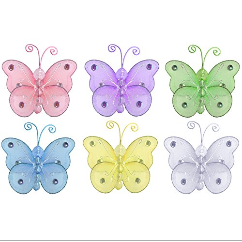 Butterfly Decor 3'' Assorted Mini X-Small Wire Hanging Nylon Mesh Butterflies 6 Piece Decorations Set Decorate Baby Nursery Bedroom Girls Room Wall Wedding Birthday Party Shower Craft Scrapbook DIY