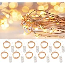 LXINGS Battery Operated Season String Lights 10 Sets of 6.6ft(2M)/20 LEDS,Micro String Lights copper Wire For Christmas Decoration Wedding Party Centerpiece,Fairy Light Effect(10PCS-Warm White)