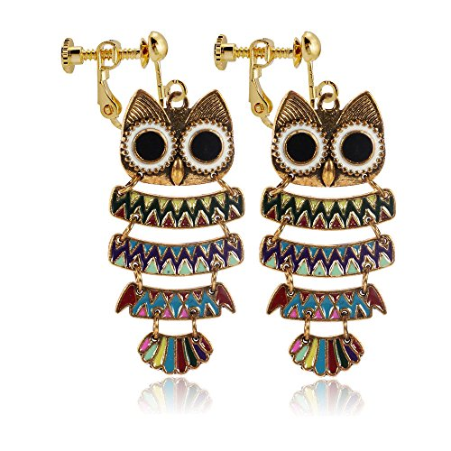 Vintage Cute Little Animal Night Owl Clip on Earrings Non Pierced Dangle for Girls -