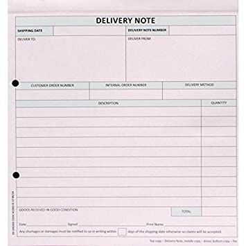Sigma Delivery Note Business Form 3 Part Set 207x220mm Ref SD3 ...